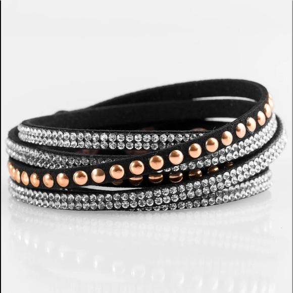 K2 Black wrap bracelet with rhinestones and copper